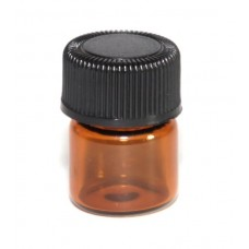 1 ML  AMBER GLASS VIALS, REDUCERS, BLACK CAPS – 50 PCS
