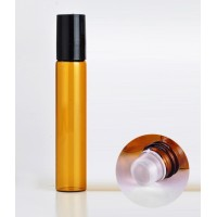 10 ml amber roll on glass bottle. Glass roller. Roller diam : 7mm