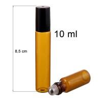10 ml amber roll on glass bottle. SS ball diam: 7 mm