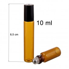 10 ml amber roll on glass bottle. SS ball diam: 7 mm