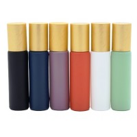 10 ML MATTE GLASS BOTTLES WITH METAL ROLL-ONS AND GOLD CAPS (PACK OF 6)