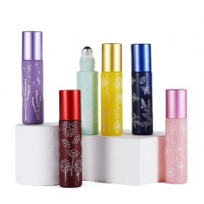 6pcs 10ml Frosted Colorful Thick Glass Rollerbottles with stencils