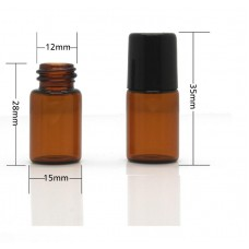 3 ml amber roll on glass bottle, golden cap