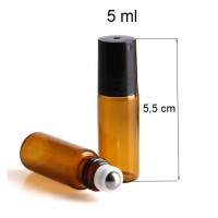 5 ml amber roll on glass bottle- small roller